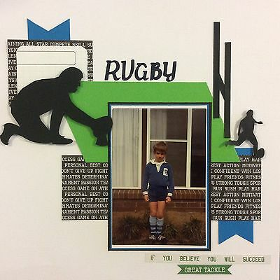 handmade scrapbook page 12 X 12 Rugby Themed Layout