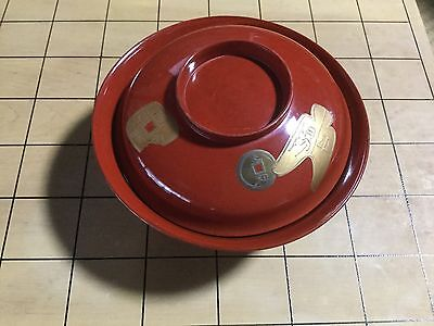 Japanese '70s wooden WAN soup bowl, Vermillion red base w/Old-coin design  13cm