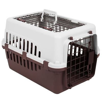 Pet Carrier White & Brown Dog Cat Puppy Vet Travel Transport Box 2 Door Cage