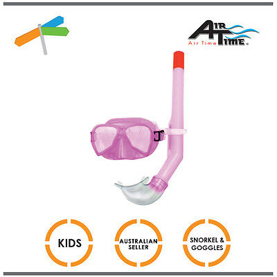 Airtime KIDS Snorkel & Mask Set  Goggles Snorkeling Swimming Pool Beach PINK