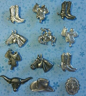 Nice Lot VINTAGE Cowboy Hat Boot Horse Button Covers 12 Pieces ++++ Silver-Tone
