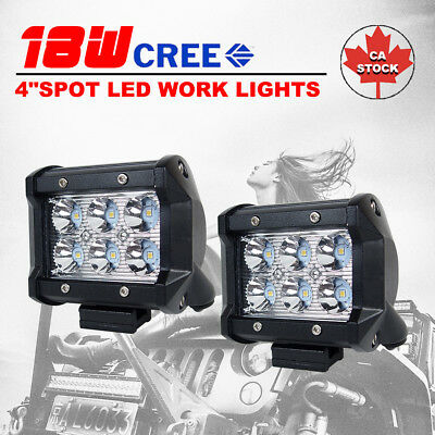 2X 4 inch 18W Spot CREE LED Work Light Bar Off road 4WD Fog ATV SUV Driving Lamp