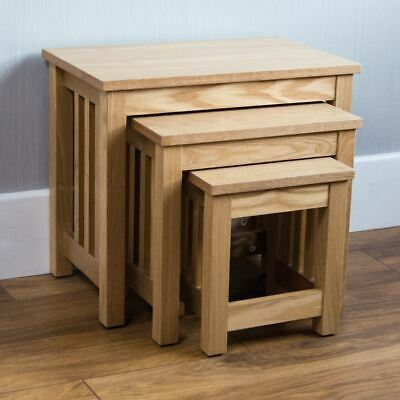 ASHTON NEST OF 3 TABLES Solid Wood Coffee Side Lamp Living Room Furniture Units