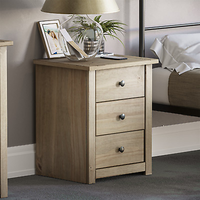 Panama 3 Drawer Bedside Chest Solid Waxed Pine Rustic Bedroom Storage Unit
