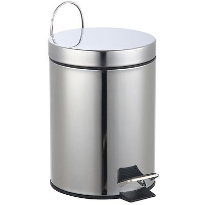 3 LITRE PEDAL BIN Stainless Steel Rubbish Waste Disposal Kitchen Bathroom