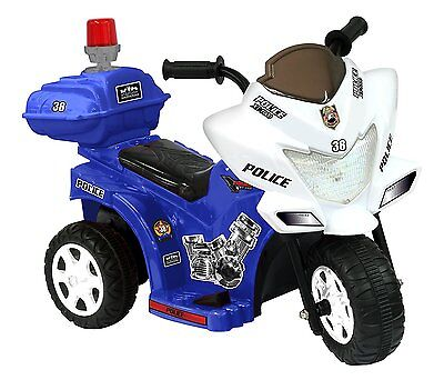 Police Bike Toddler Toy Kids Ride On Motorcycle Battery Powered Scooter Blue