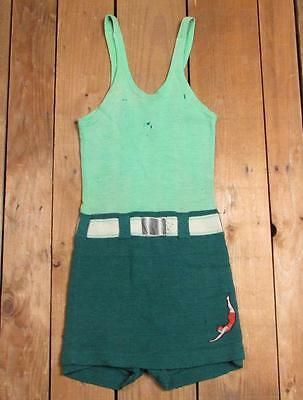 Vintage 1920s Jantzen Wool Swimsuit Green 2-Tone Bathing Suit Diver Patch Beach