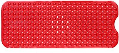SlipX Solutions High Quality Durable Beautiful Red Extra Long Bath Mat in Red