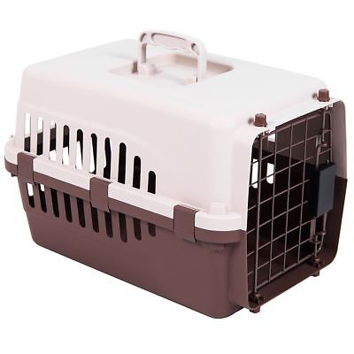 Pet Carrier White & Brown Dog Cat Puppy Cage Vet Travel Transport Box Crate