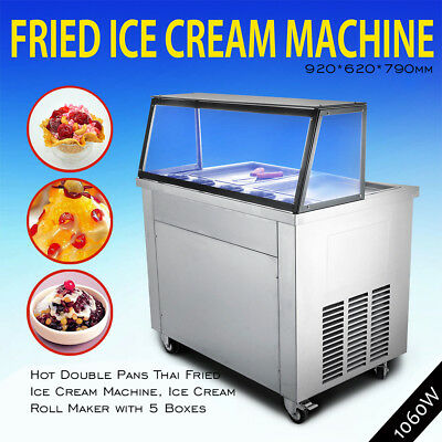 Hot Double Pans Thai Fried Ice Cream Machine,Ice Cream Roll Maker with 5 Boxes