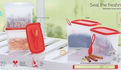 Tupperware Within Reach Canister with spoon ( Set of 4) 815ml