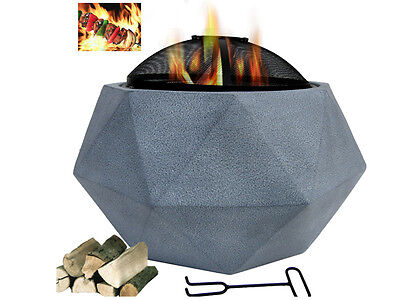 NEW Cement Outdoor Fire pit Octagon Patio Open Fire Place with Grill and Poker
