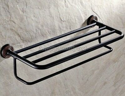 Black Oil Rubbed Brass Bathroom Towel Rail Holder Storage Rack Shelf Bar yba120