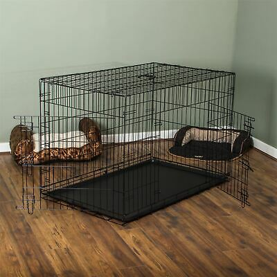 Pet Cage 48 Inch Dog Cat Puppy Animal 2 Door Folding Training Travel Kennel