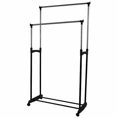 DOUBLE GARMENT RACK Silver Extendable Portable Stand Hanging Rail Wheel Metal
