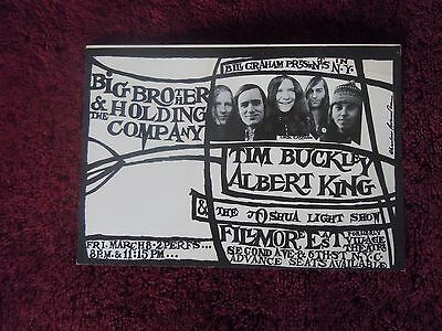 Janis Joplin Big Brother 1968 Fillmore East Authentic Opening Night Card RARE!