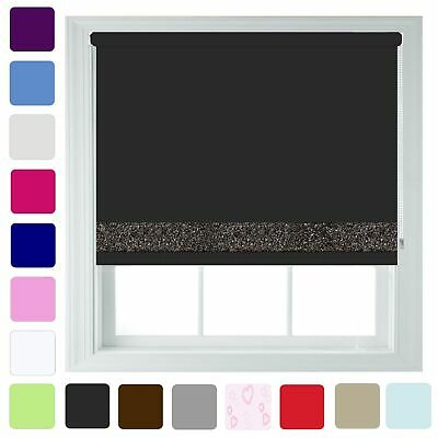 Blackout Roller Blinds Glitter Trim & Metal Fittings Sizes Up to 240cm x 210cm