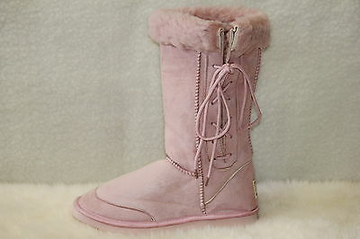 Ugg Boots Tall, Synthetic Wool, Lace Up, Size 3 Youth Kids Pink ON SPECIAL