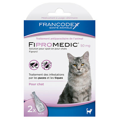 Francodex - Traitement Antiparasitaire Spot-On 50mg Fipromedic pour Chat - 2x0,5