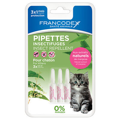 Francodex - Pipettes Insectifuges pour Chaton - 3x0,6ml