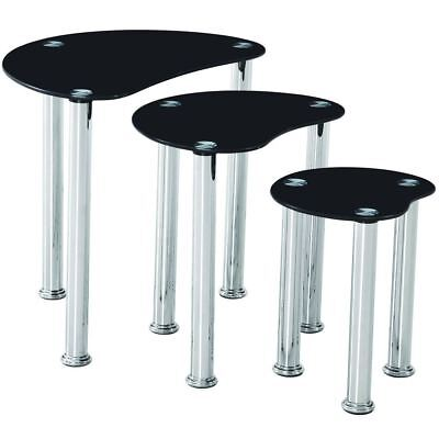CARA NEST OF TABLES 3 Units Black Glass Top End Hallway Side Table Living Room