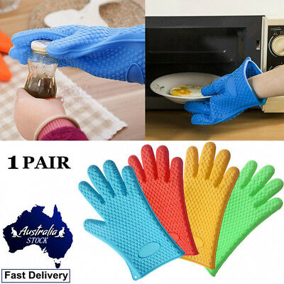 1 Pair Food Grade Silicone Oven Gloves Kitchen BBQ Grill Pot Holder Kitchen Mitt