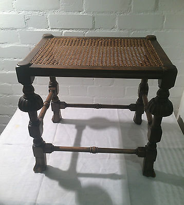 Reproduction Charles II Walnut Stool w Wicker Top