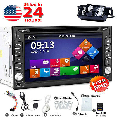 "Backup Camera+6.2"" HD Double 2 Din Car Stereo Radio DVD MP3 Player GPS Bluetooth"