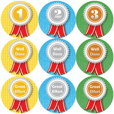 144 Sports Day Rosettes Stickers - 1st 2nd 3rd teacher reward stickers Size 30mm
