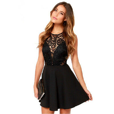 Women Black Mini Dress Lace Sleeveless Party Cocktail Evening Bodycon Prom