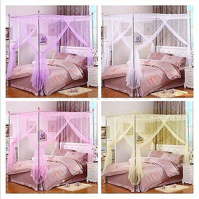 Mosquito Net Fly Netting Princess 4 Corner Bed Canopy Frame Single Double King