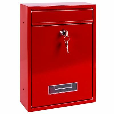 POST BOX Red Square Steel Letter Mail Wall Mountable Lockable Key Outdoor