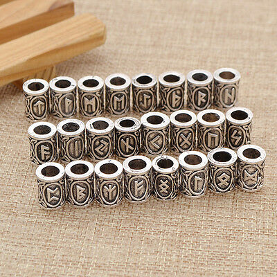 Retro Style Zinc Alloy Rune Viking Bead for DIY Hair Mustache Jewelry 1 Pc