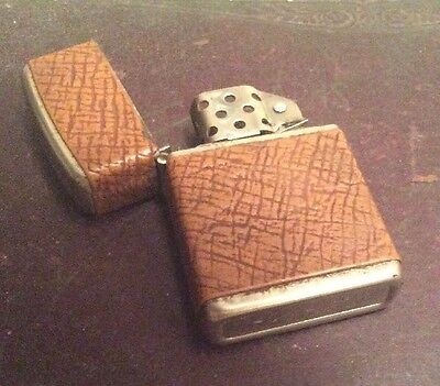 Vintage CHAMP Brown Leather Wrapped Wind proof Lighter New Wick Made In AUSTRIA