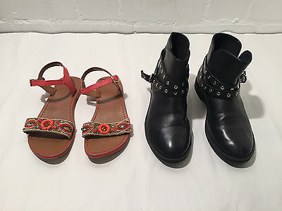 Lot Of 2 Pair Of Funky Naf Naf Beaded Sandals + Biker Zara Boots - Size 33 - Vr