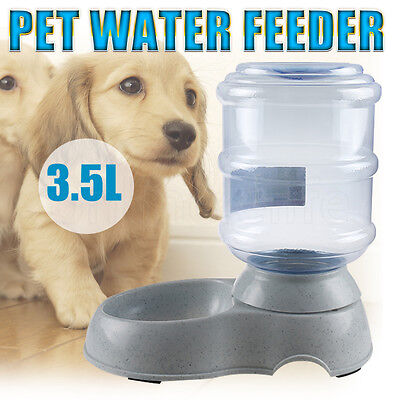 Large 3.5L Automatic Cat Dog Pet Food Water Feeder Bowl Dispenser Plastic Home