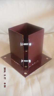 """100mm 4"""" BOLT DOWN BOLT GRIP FENCE POST SUPPORT Like Metpost Timber Holder x 12"""