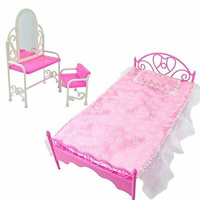 Dressing Table Chair & Bed Bedroom Furniture for Barbie Dolls Dollhouse