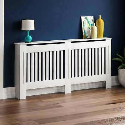 CHELSEA RADIATOR COVER Extra Large White MDF Modern Slat Grill Guard Cover Shelf