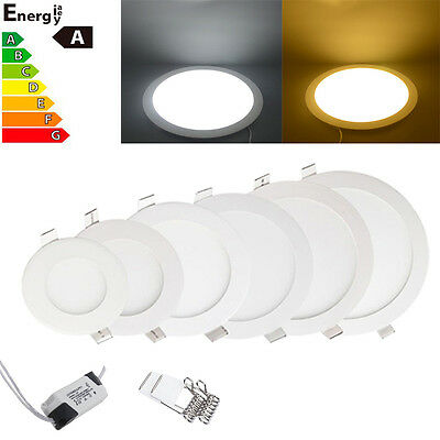 LED Cree Recessed Ceiling Panel Light 6W 12W 18W 24W Downlight Flat Lamp Round