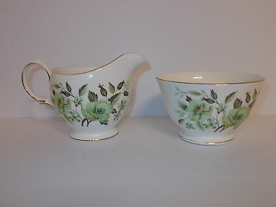 Colclough Bone China Sugar Bowl and Milk Cream Jug Green Floral Design Lovely