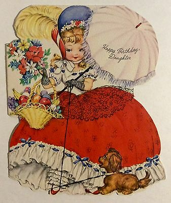 Beautiful Little Southern Belle Antebellum 1950's Vintage Birthday Greeting Card