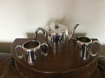 Lovely Walker And Hall  Hotel Ware Silver Plated 3 Piece Teaset (Ts 199}