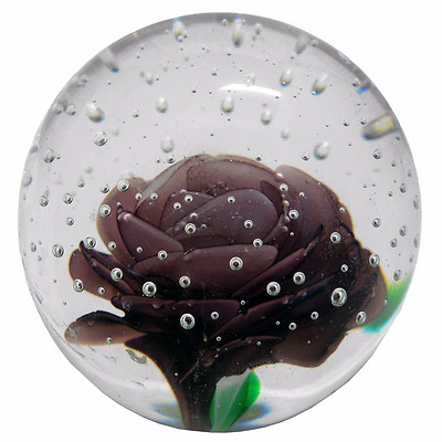 New Glass Paper Weight Snowing Rose Purple 7 x 7 x 7 cm