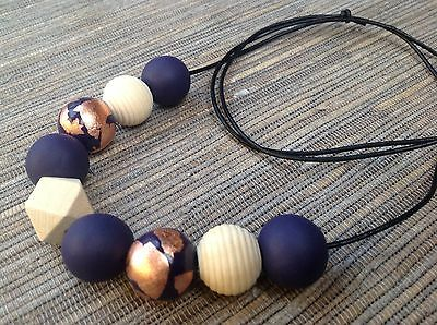 Handmade Polymer Clay Bead Necklace, Navy And Rose Gold