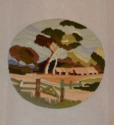 Completed Round Longstich Farm House Tree Country Scene Image Size 28cm Diameter