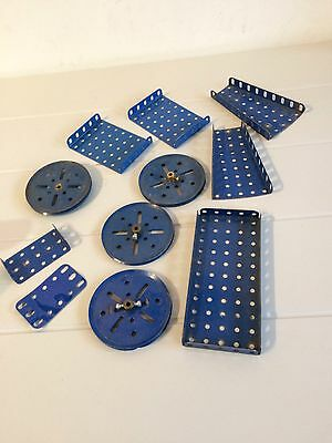 Vintage Meccano Blue Plate And Pulley Lot2