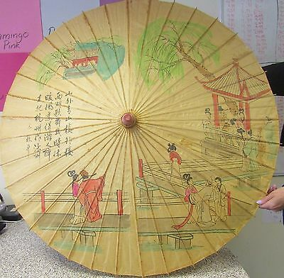 Vintage Hand Painted Paper & Bamboo Parasol with Chinese Writing
