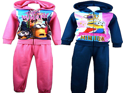 Kids Girls Disney Minions Hoodie Tracksuit Sportswear Jogging Sets,3,4,6,8,Yrs