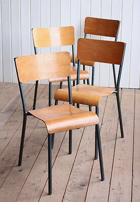 Vintage Industrial Set of 4 Stacking School Dining Chairs Cafe Bar